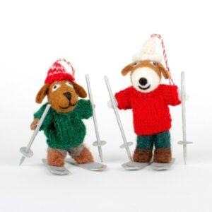Hondje op ski's Rood/ Groen