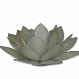 Waxinelichthouder, lotus groen en wit