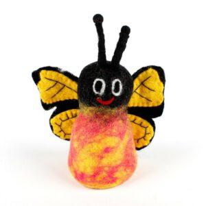 Eierwarmer Vlinder geel (vilt)