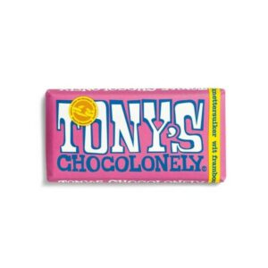 Tony's Chocolonely wit 28% framboos knettersuiker
