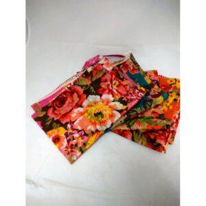 Bloemensjaal: appelgroen, roze, oranje, lichtgroen