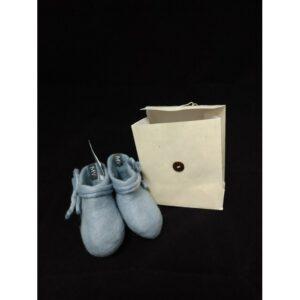 babyslofjes merinowol grijs/blauw