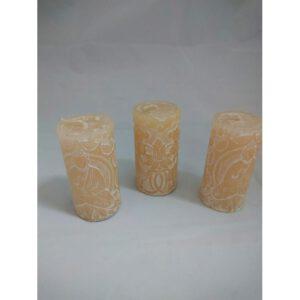 Candle pillar Buddha White