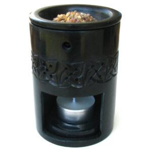 Wierookbrander en olieverdamper zeepsteen zwart