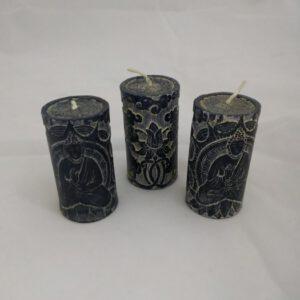 Candle pillar Buddha Black